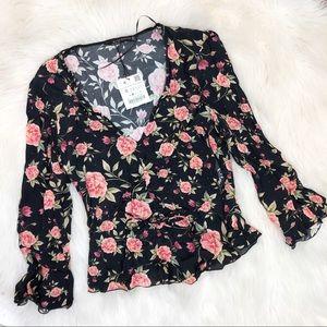 Zara V neck floral top size small black pink